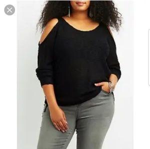 Charlotte Russe Colde Shoulder Slub Sweater